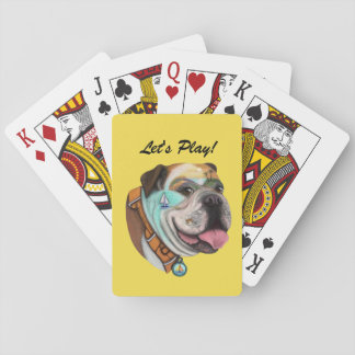Bulldog Sailing Sunset Playing Cards