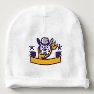 Bulldog Sheriff Cowboy Head Banner Retro Baby Beanie
