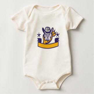 Bulldog Sheriff Cowboy Head Banner Retro Baby Bodysuit