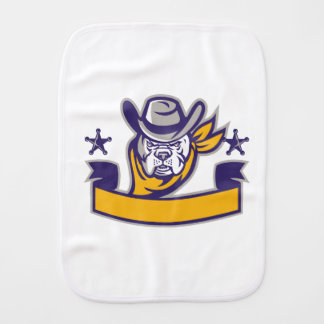 Bulldog Sheriff Cowboy Head Banner Retro Burp Cloth