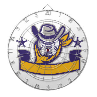 Bulldog Sheriff Cowboy Head Banner Retro Dartboard