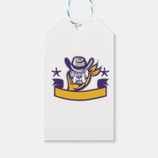 Bulldog Sheriff Cowboy Head Banner Retro Gift Tags
