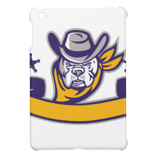 Bulldog Sheriff Cowboy Head Banner Retro iPad Mini Covers