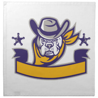 Bulldog Sheriff Cowboy Head Banner Retro Napkin
