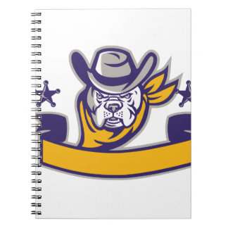 Bulldog Sheriff Cowboy Head Banner Retro Notebook