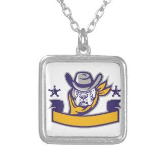 Bulldog Sheriff Cowboy Head Banner Retro Silver Plated Necklace