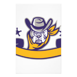 Bulldog Sheriff Cowboy Head Banner Retro Stationery Paper