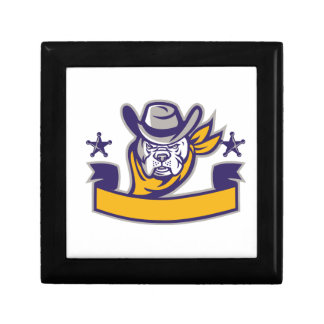 Bulldog Sheriff Cowboy Head Banner Retro Trinket Box