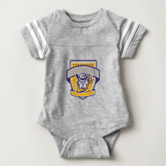 Bulldog Sheriff Cowboy Head Shield Retro Baby Bodysuit