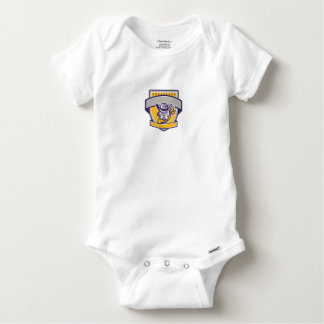 Bulldog Sheriff Cowboy Head Shield Retro Baby Onesie