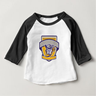 Bulldog Sheriff Cowboy Head Shield Retro Baby T-Shirt