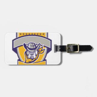 Bulldog Sheriff Cowboy Head Shield Retro Bag Tag