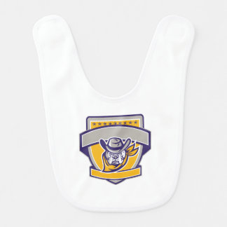 Bulldog Sheriff Cowboy Head Shield Retro Bib