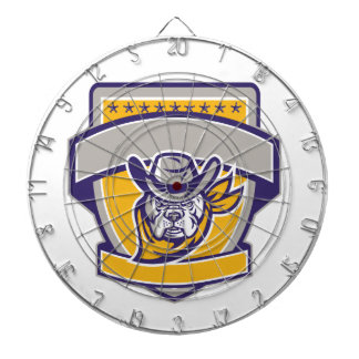 Bulldog Sheriff Cowboy Head Shield Retro Dartboard
