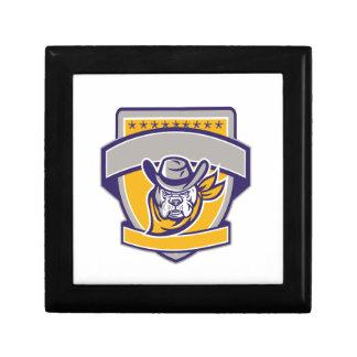 Bulldog Sheriff Cowboy Head Shield Retro Gift Box