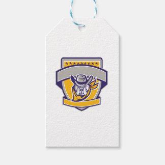 Bulldog Sheriff Cowboy Head Shield Retro Gift Tags