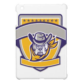 Bulldog Sheriff Cowboy Head Shield Retro iPad Mini Cover