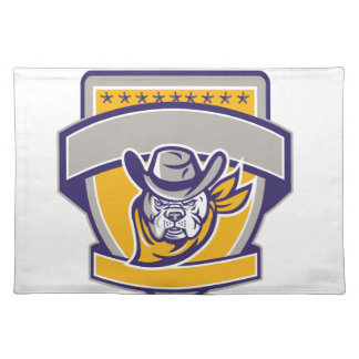 Bulldog Sheriff Cowboy Head Shield Retro Placemat