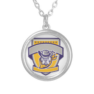 Bulldog Sheriff Cowboy Head Shield Retro Silver Plated Necklace