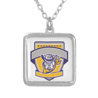 Bulldog Sheriff Cowboy Head Shield Retro Silver Plated Necklace