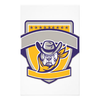 Bulldog Sheriff Cowboy Head Shield Retro Stationery Paper