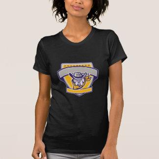 Bulldog Sheriff Cowboy Head Shield Retro T-Shirt