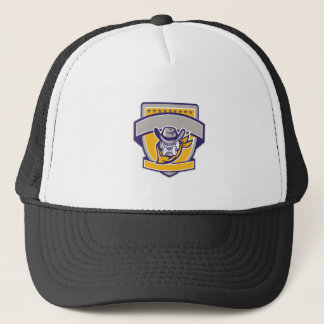 Bulldog Sheriff Cowboy Head Shield Retro Trucker Hat