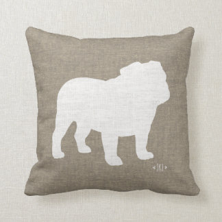 Bulldog Silhouette Faux Burlap Throw Pillow