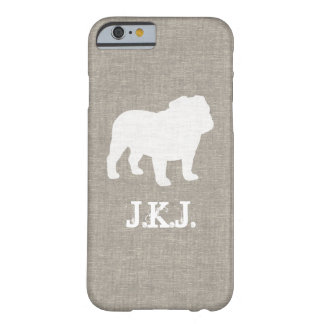 Bulldog Silhouette Faux Linen Style Barely There iPhone 6 Case