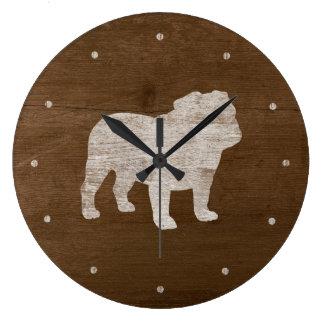 Bulldog Silhouette Large Clock