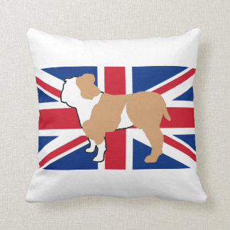 bulldog silhouette on flag fawn and white throw pillow