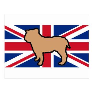 bulldog silhouette on flag fawn postcard
