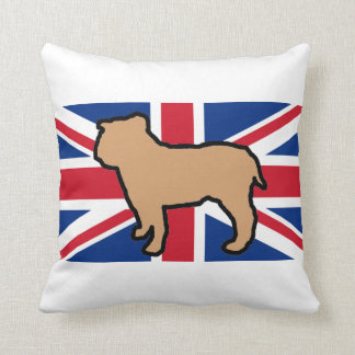 bulldog silhouette on flag fawn throw pillow