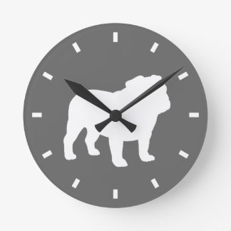 Bulldog Silhouette on Grey - Color Customizable Clock