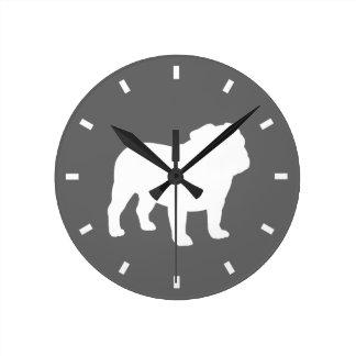Bulldog Silhouette on Grey - Color Customizable Round Clock