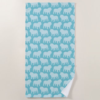 Bulldog Silhouettes Pattern Beach Towel