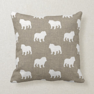 Bulldog Silhouettes Pattern Faux Burlap Throw Pillow