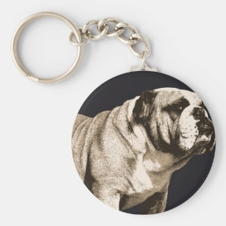 Bulldog Spirit Basic Round Button Keychain