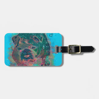 Bulldog Splash Watercolor Painting Bag Tag