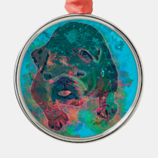 Bulldog Splash Watercolor Painting Silver-Colored Round Ornament