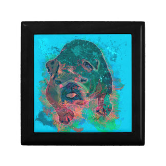 Bulldog Splash Watercolor Painting Trinket Boxes