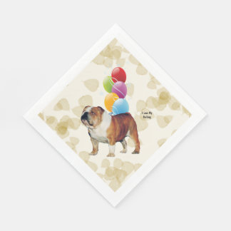 Bulldog Tan Leaves and Balloons Disposable Napkins