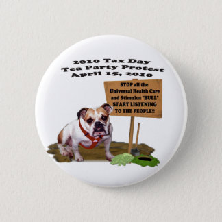 Bulldog Tax Day Tea Party Protest Button