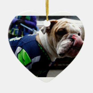 Bulldog Team Spirit Ceramic Heart Ornament