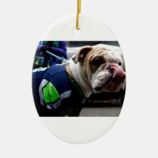 Bulldog Team Spirit Ceramic Oval Ornament