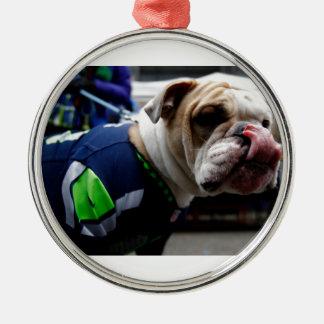 Bulldog Team Spirit Silver-Colored Round Ornament