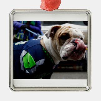 Bulldog Team Spirit Silver-Colored Square Ornament