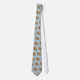 Bulldog Tie with blue background!  Woof!