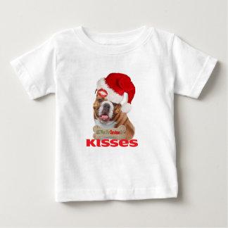 Bulldog Wants Kisses For Christmas Baby T-Shirt