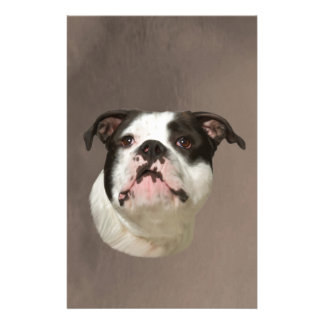 Bulldog Water Color Art Painting Stationery Design